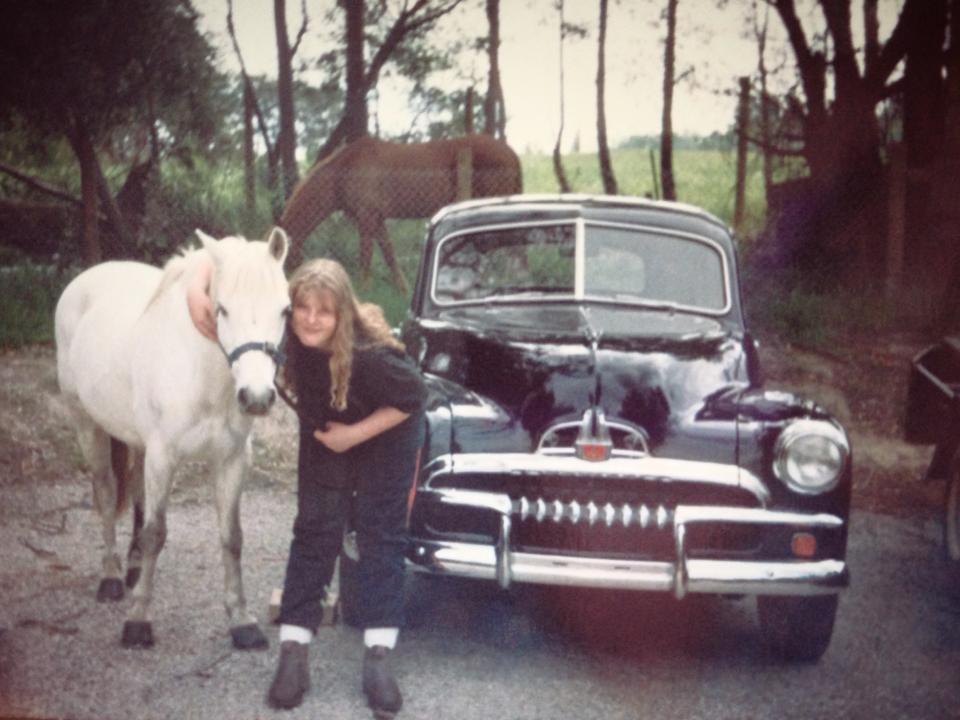 FJ Holden and White Pony