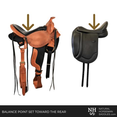 Deep seat Light saddle and glenn secret pro dressage saddle by Natural Horseman Saddles. The arrows show the balance point of the saddles.