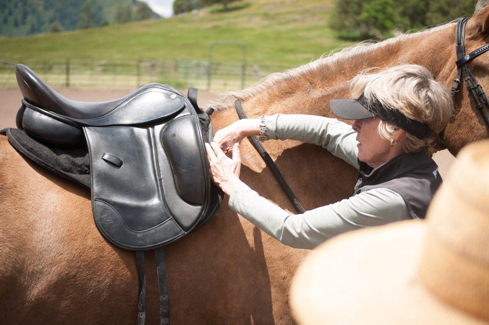 Letitia Glenn demonstrating shoulder/scapula clearance under a Glenn Secret Pro Dressage Saddle
