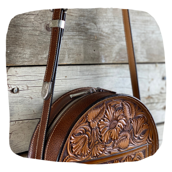 Leather Tooled Canteen Bag