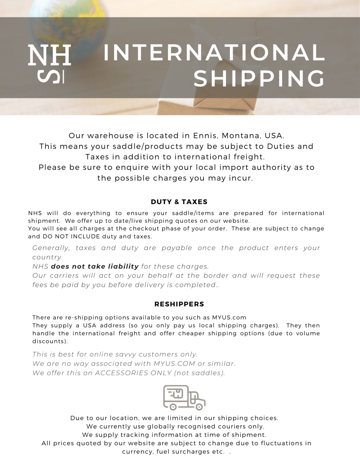 Inernational shipping